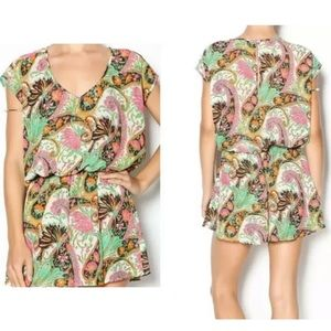 Show Me Your MuMu Pink Green Rowdy Paisley Romper
